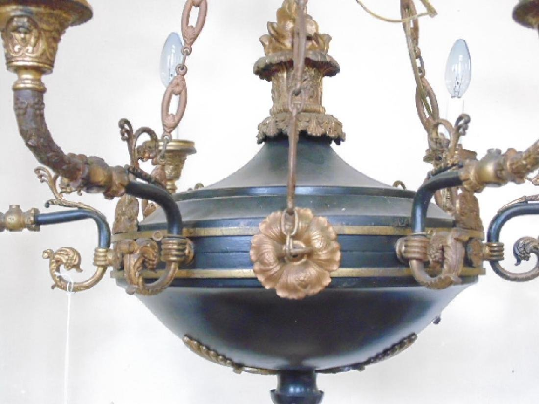 French Empire chandelier, black tole, gilt detail - 3