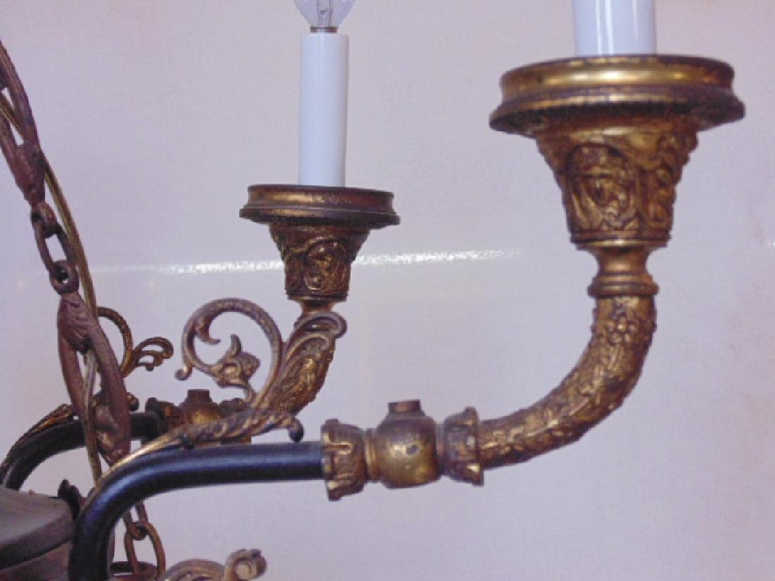 French Empire chandelier, black tole, gilt detail - 5