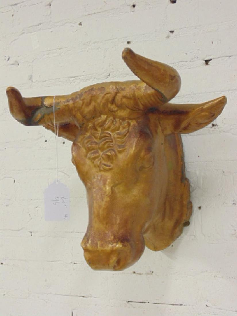 Zinc cow head butcher, trade sign, painted gold