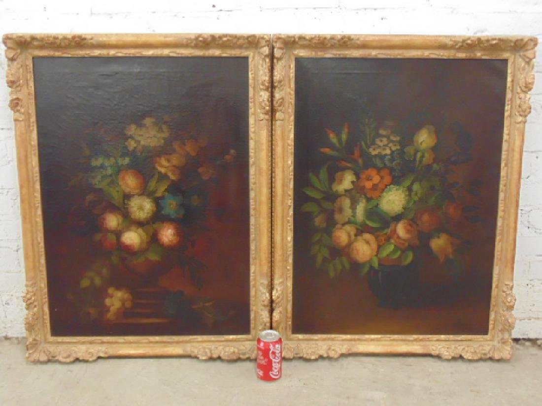 Pair oil canvas floral stillifes, signed J. Sowinski
