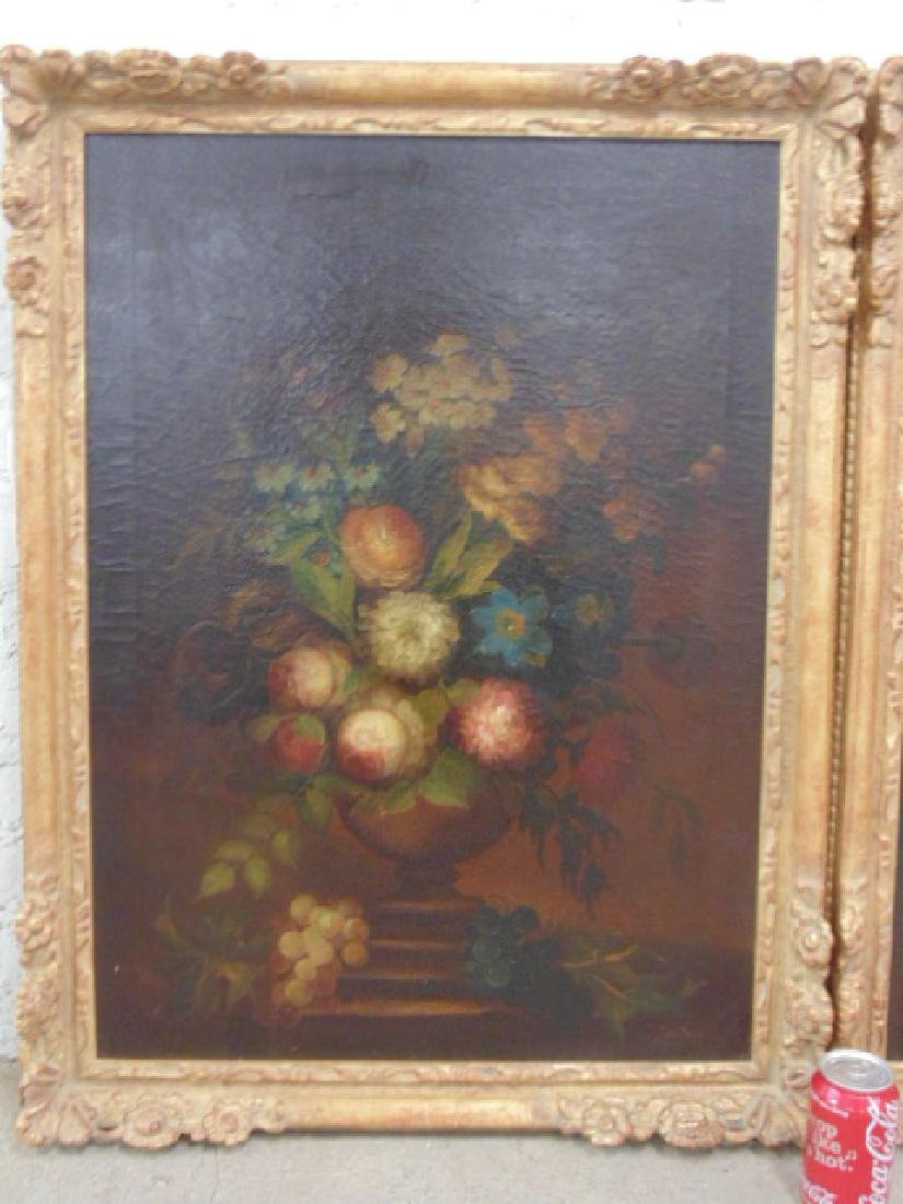 Pair oil canvas floral stillifes, signed J. Sowinski - 2