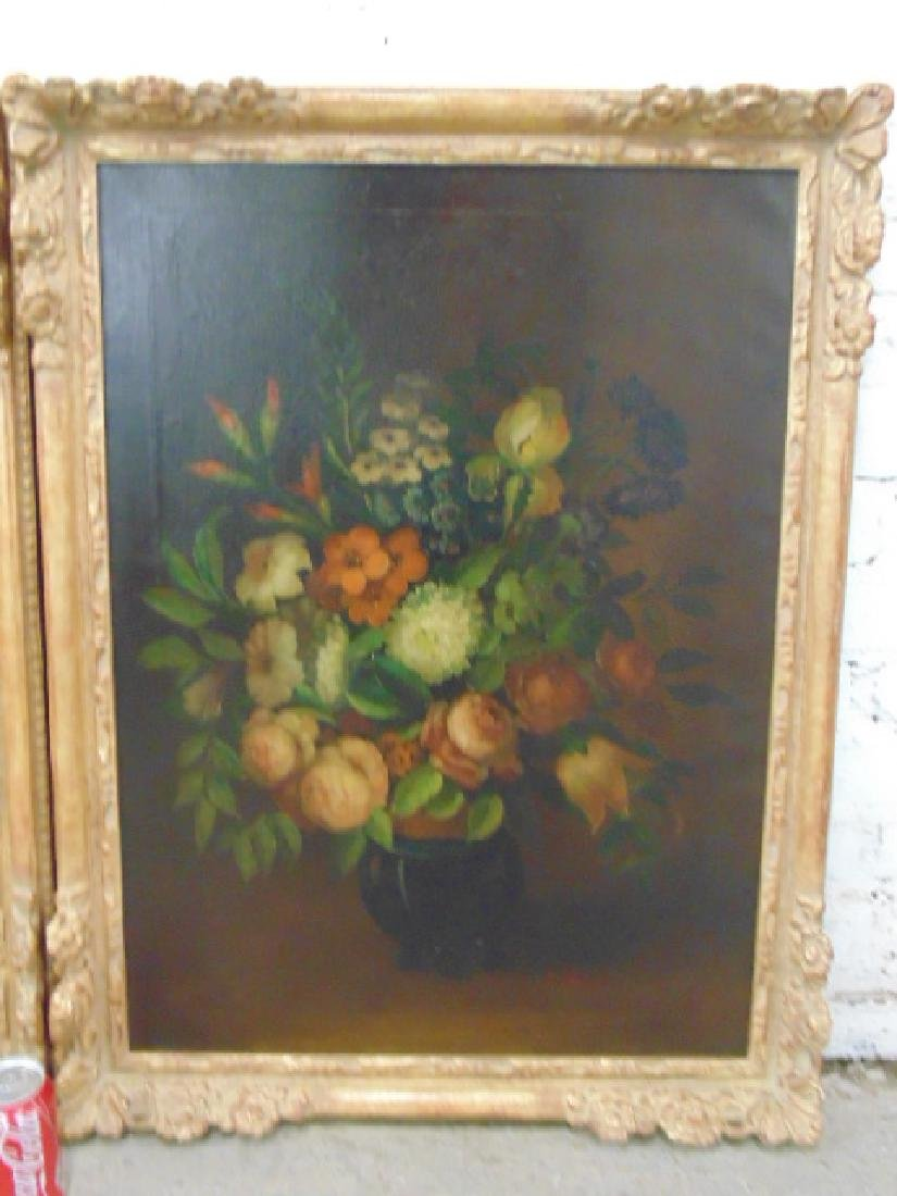 Pair oil canvas floral stillifes, signed J. Sowinski - 3