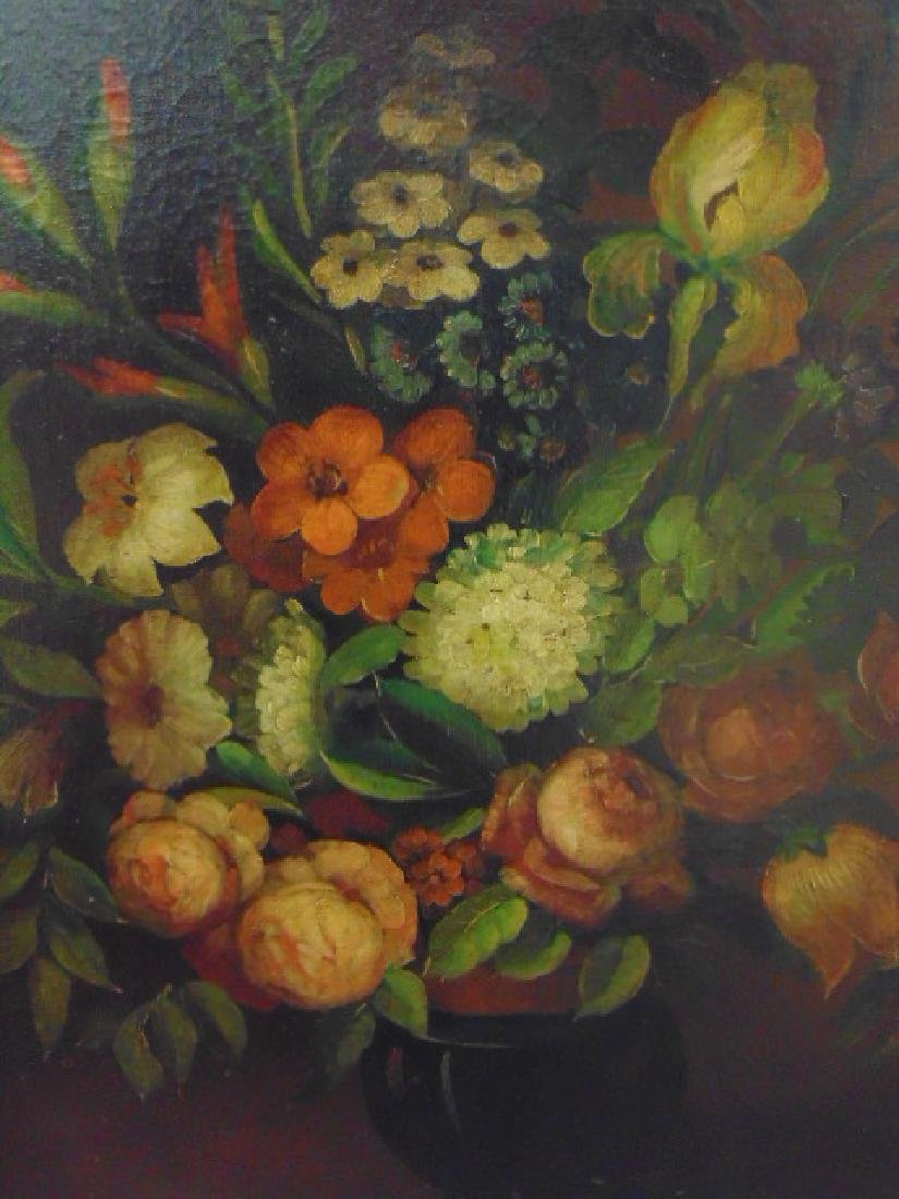 Pair oil canvas floral stillifes, signed J. Sowinski - 5