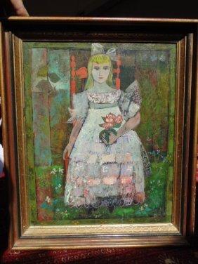Painting, portrait girl,  Henry Lawrence Faulkner