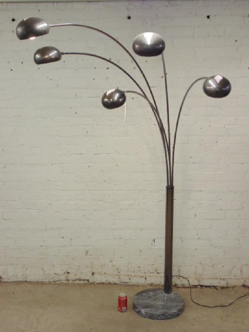Mid Century chrome floor lamp with marble base