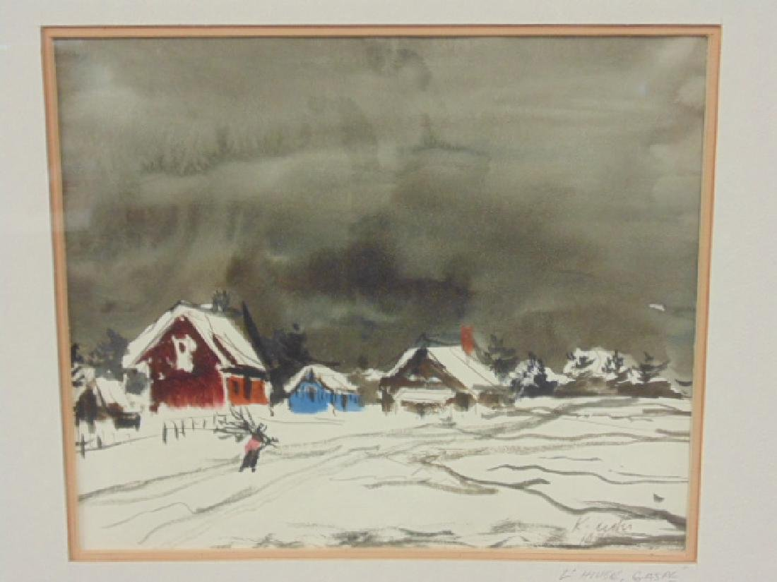 "Watercolor, ""L'hiver, Gaspe"", signed Ken Nishi"
