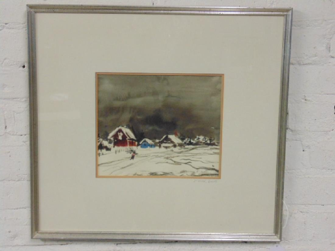 "Watercolor, ""L'hiver, Gaspe"", signed Ken Nishi - 2"