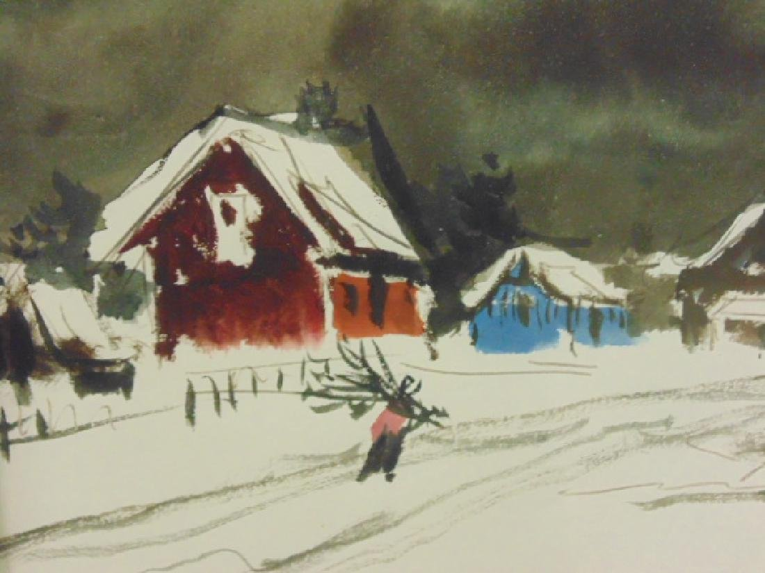 "Watercolor, ""L'hiver, Gaspe"", signed Ken Nishi - 3"