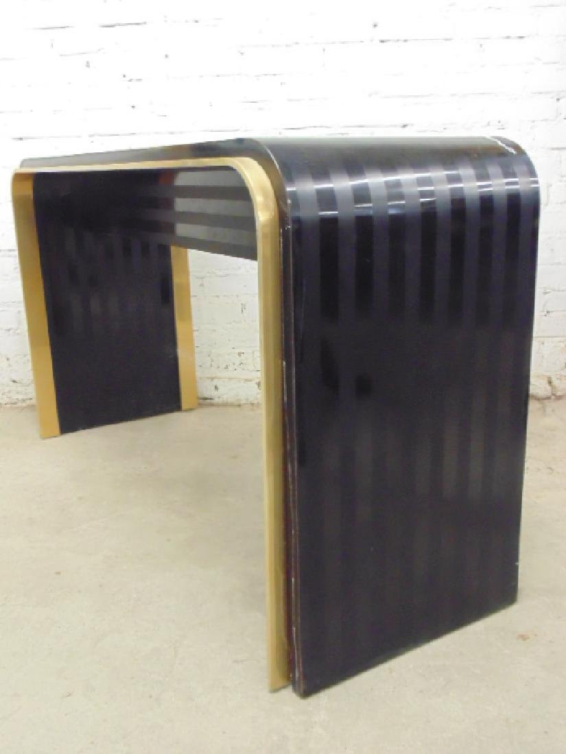 Laminate & brass console table - 4