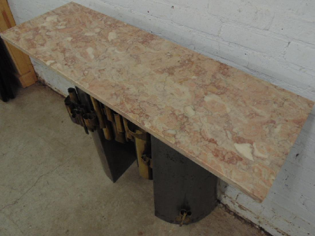 Steel & brass console table, marble top - 5