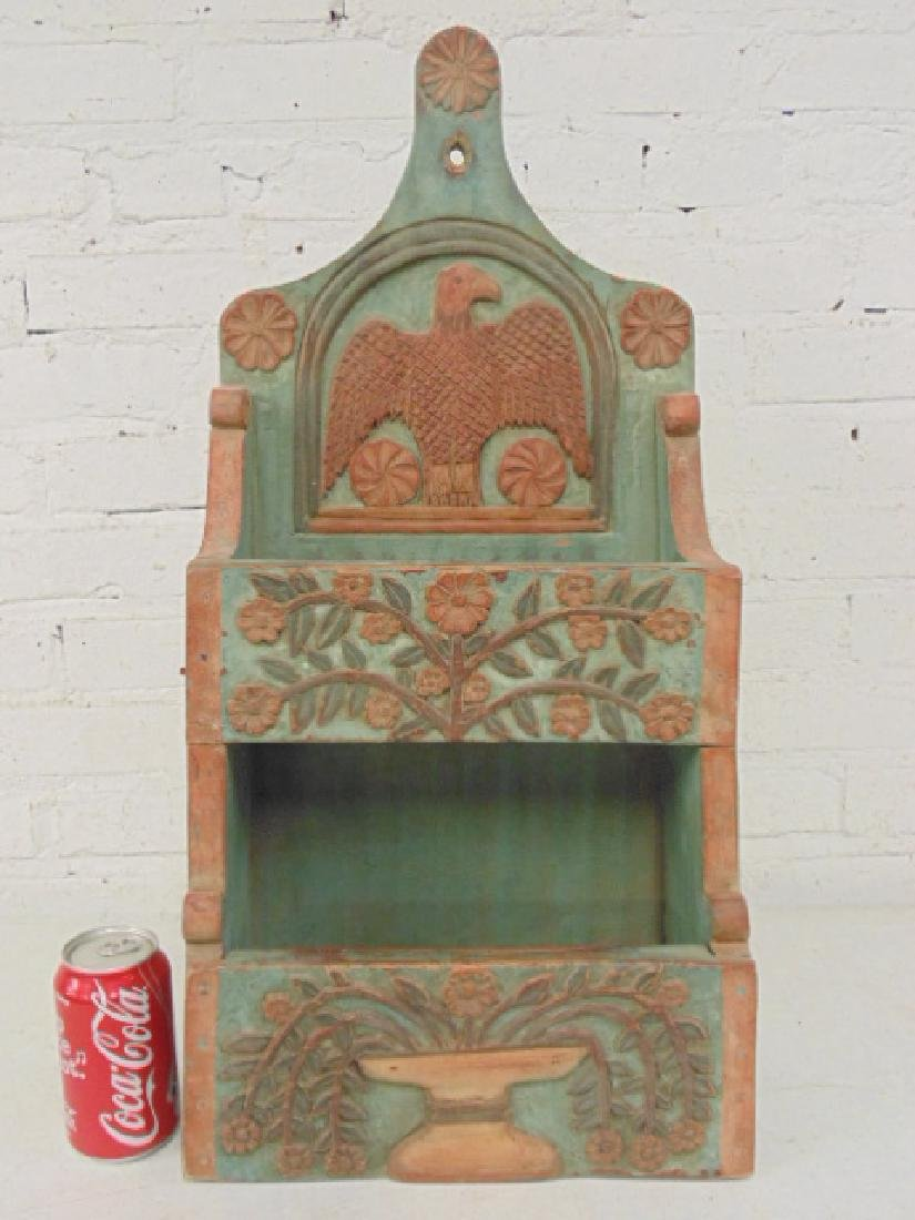 Carved wood wall box in green & red paint