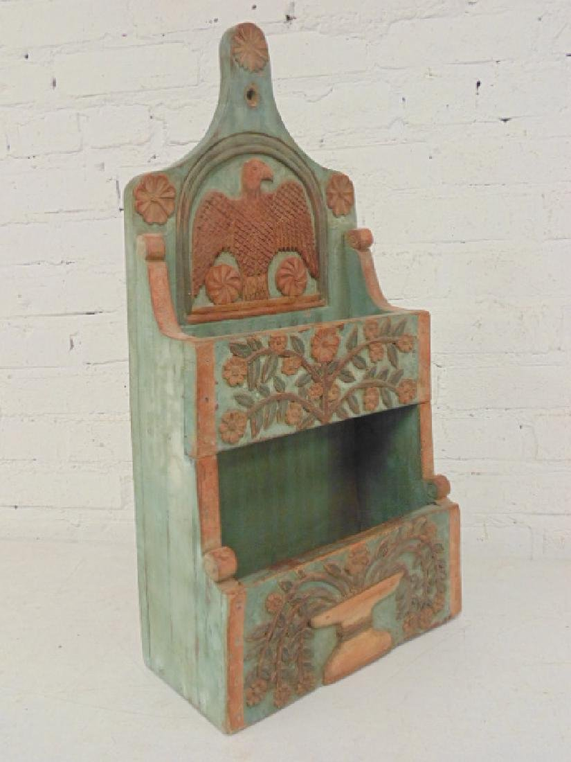Carved wood wall box in green & red paint - 2