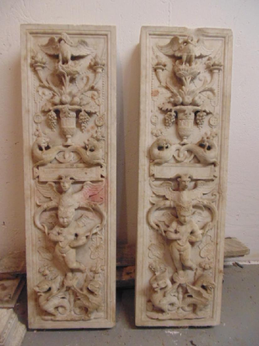 19th Century gilded age carved Italian marble fireplace - 2