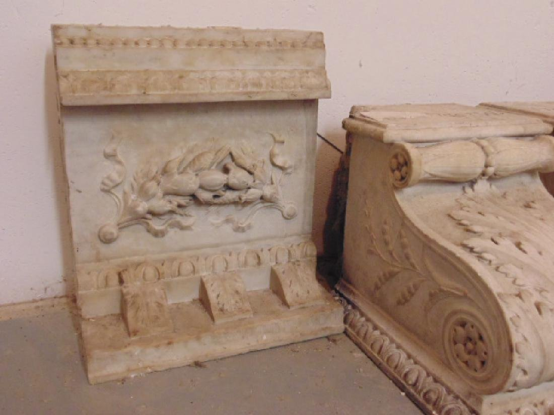 19th Century gilded age carved Italian marble fireplace - 6