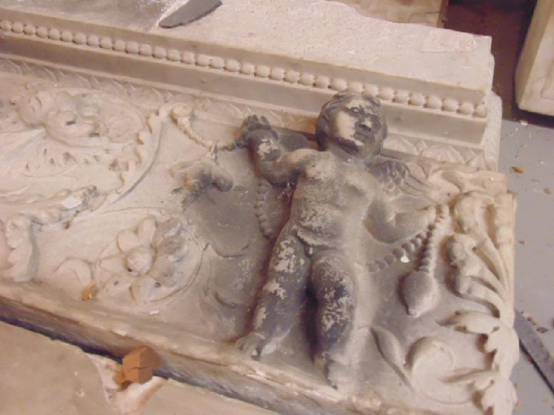 19th Century gilded age carved Italian marble fireplace - 9
