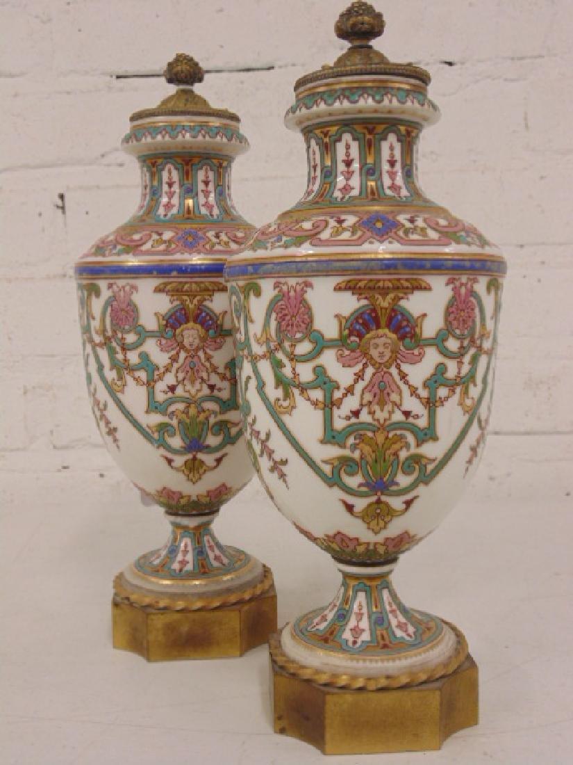 Pair small porcelain & bronze urns - 2