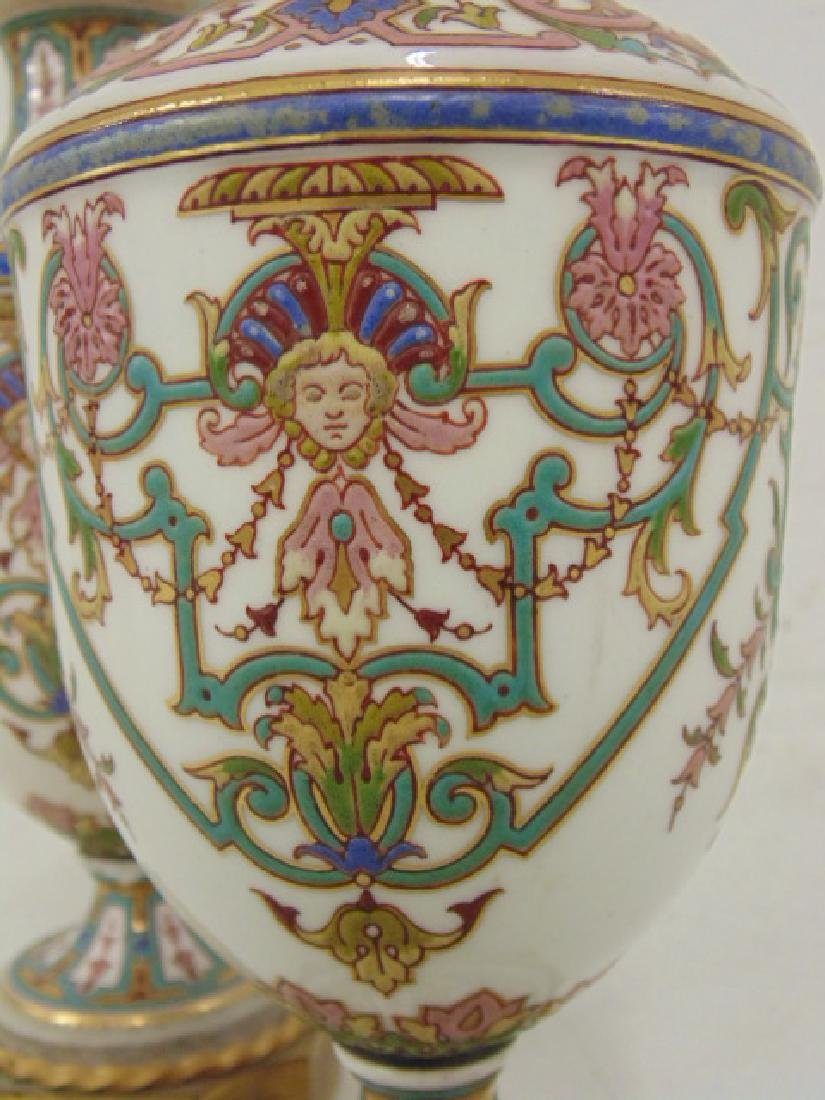 Pair small porcelain & bronze urns - 3