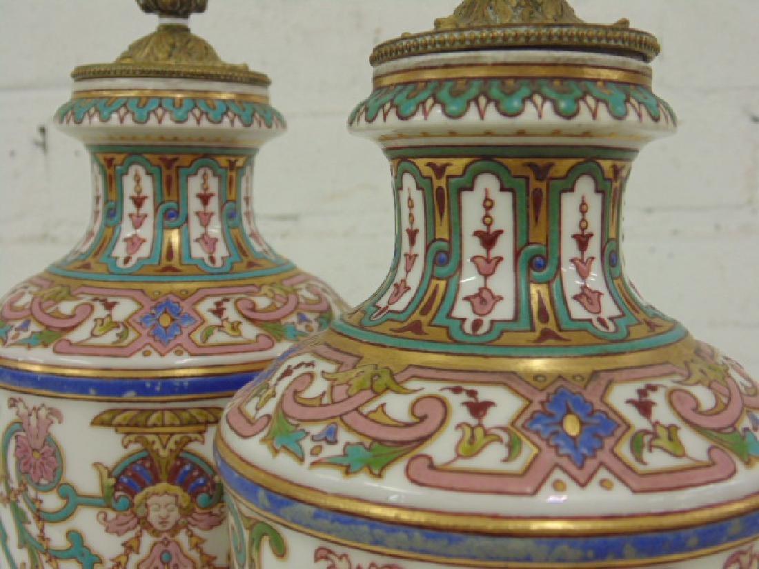 Pair small porcelain & bronze urns - 4
