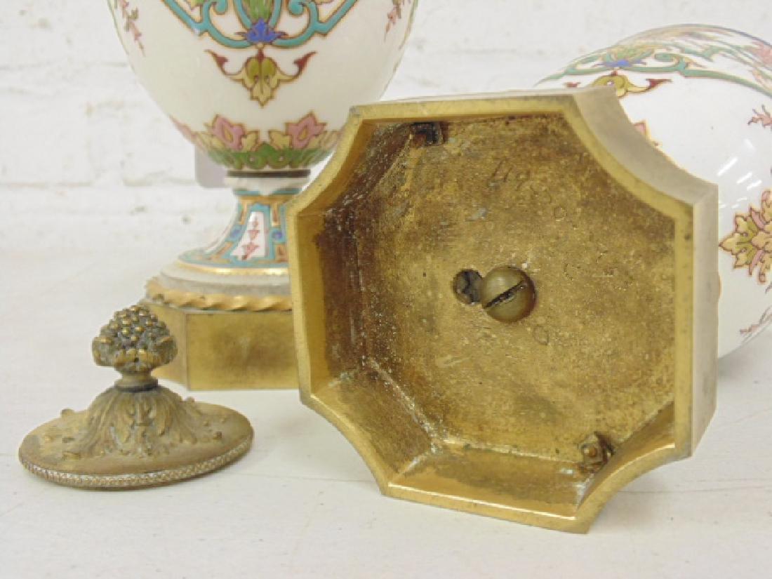 Pair small porcelain & bronze urns - 5