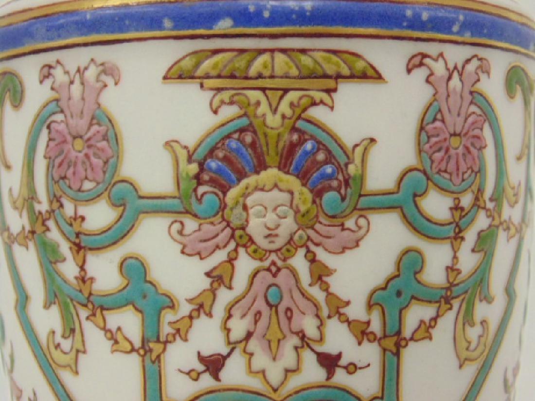 Pair small porcelain & bronze urns - 6