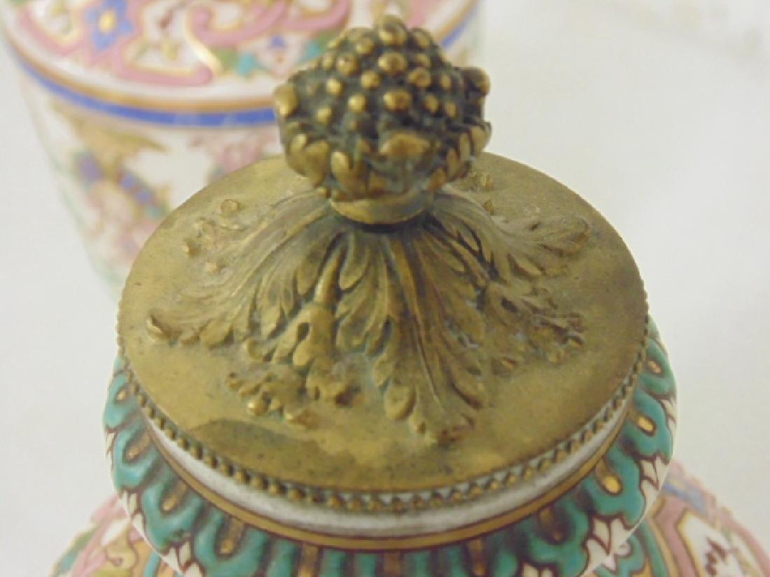 Pair small porcelain & bronze urns - 8