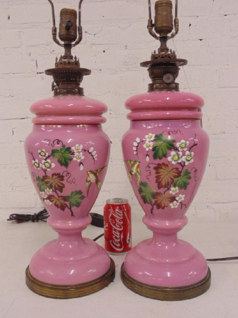 Pair pink Bristol type table lamps