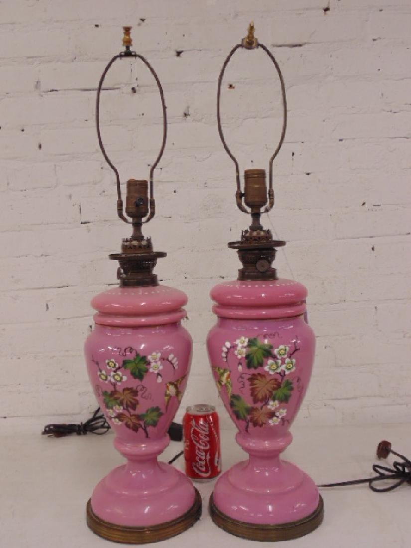 Pair pink Bristol type table lamps - 2