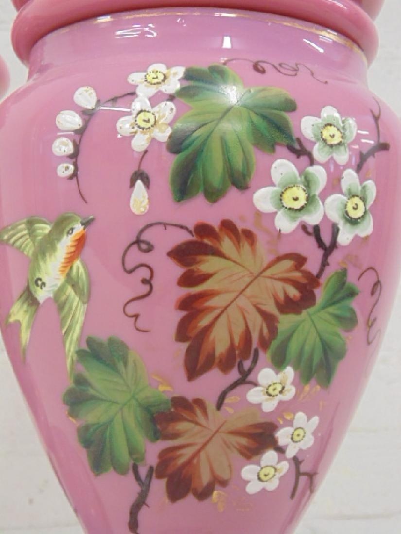 Pair pink Bristol type table lamps - 4