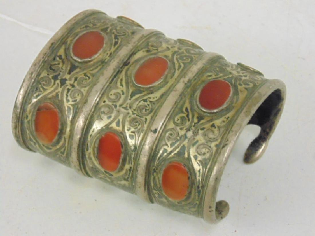 Silver cuff inlaid with stones - 2