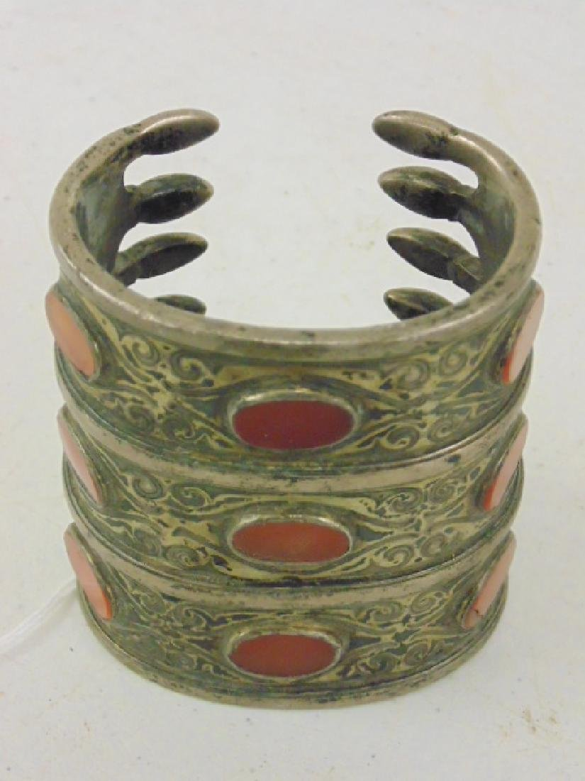 Silver cuff inlaid with stones - 4
