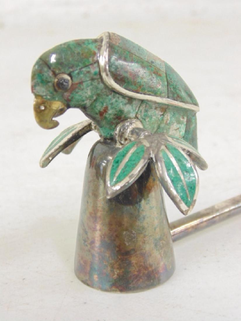 Emilia Castillo plateado candle snuffer, stone parrot - 2
