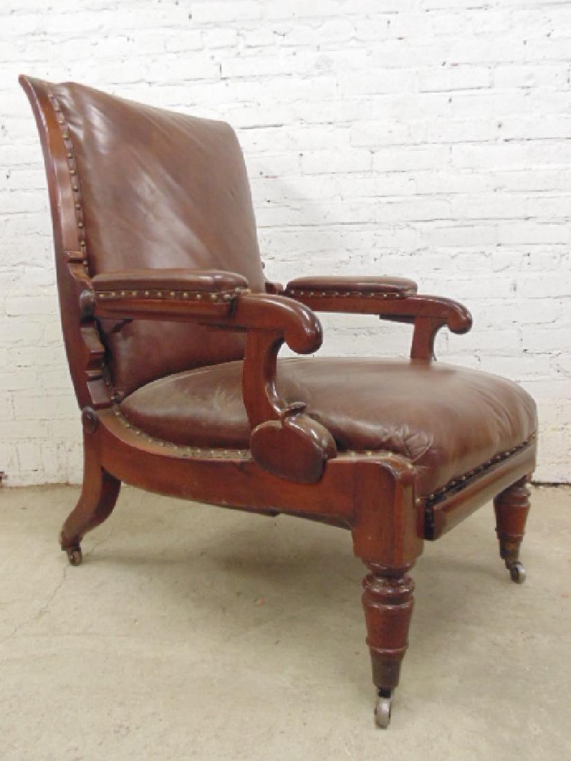 Adjustable leather mechanical recliner, - 2