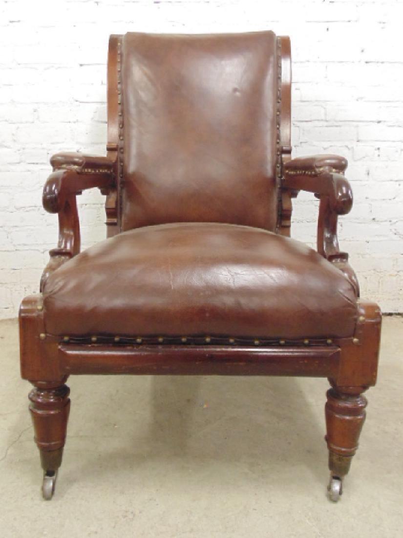 Adjustable leather mechanical recliner, - 3