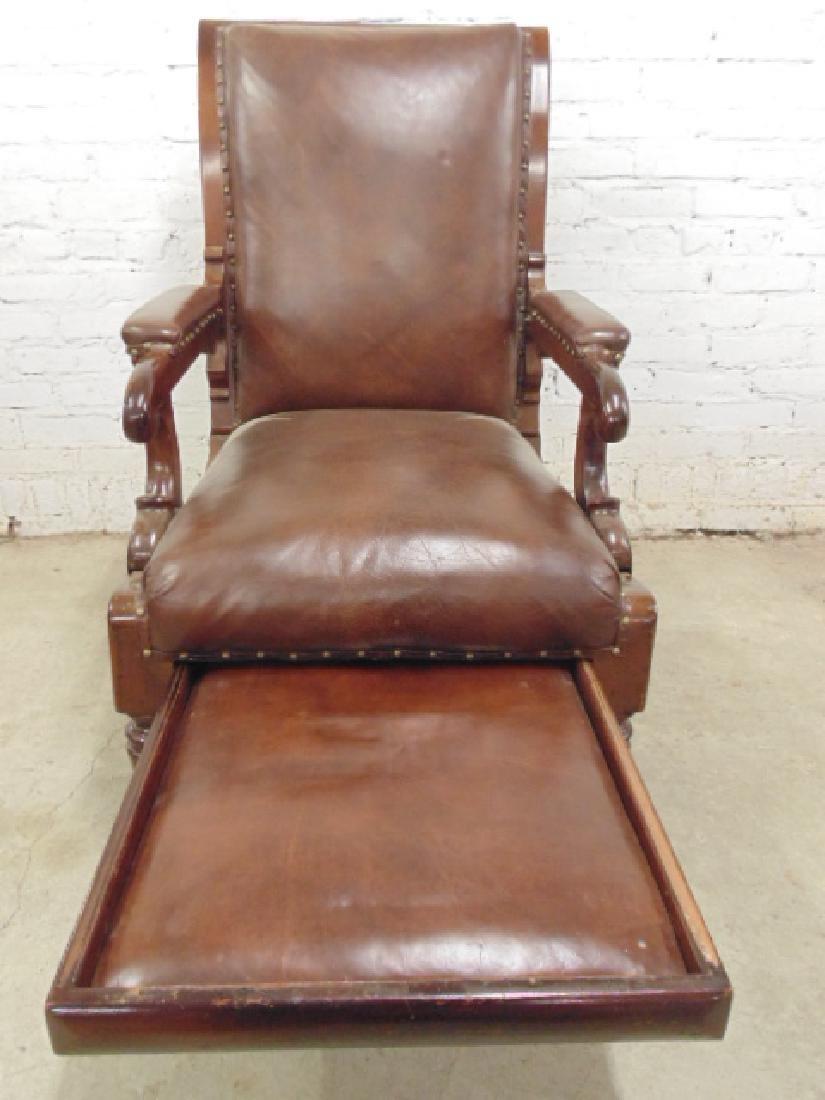 Adjustable leather mechanical recliner, - 4