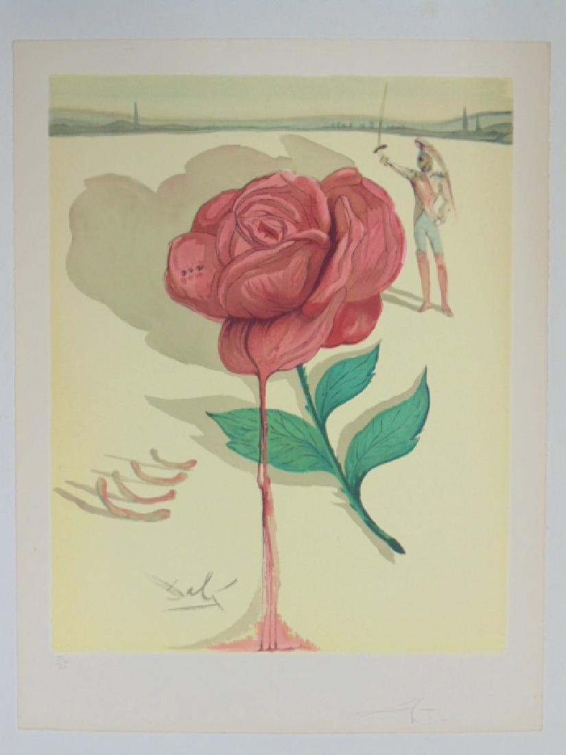 Salvador Dali lithograph, flower & figure