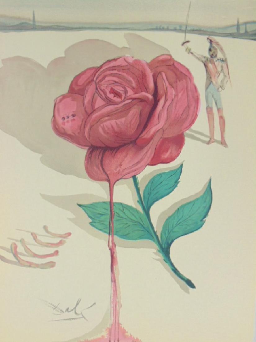 Salvador Dali lithograph, flower & figure - 2