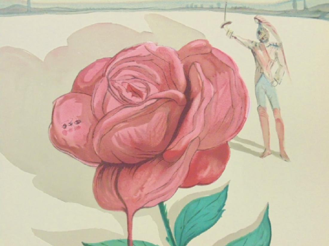 Salvador Dali lithograph, flower & figure - 3