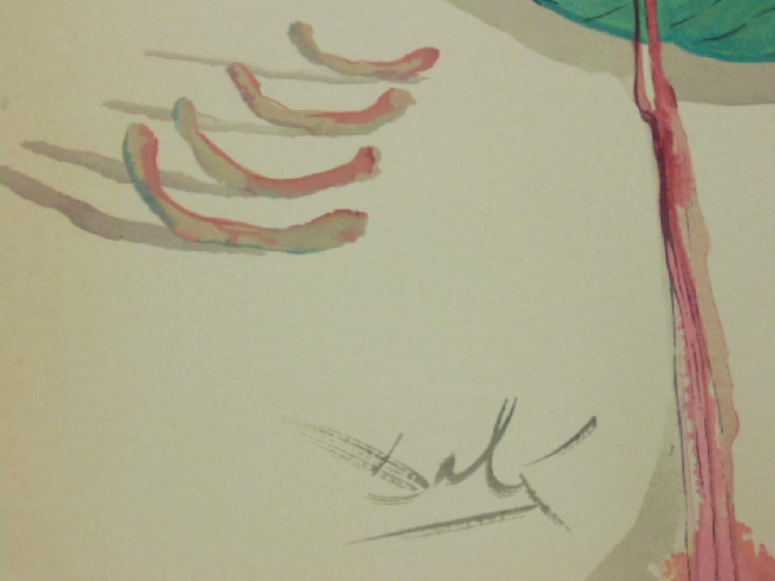Salvador Dali lithograph, flower & figure - 5