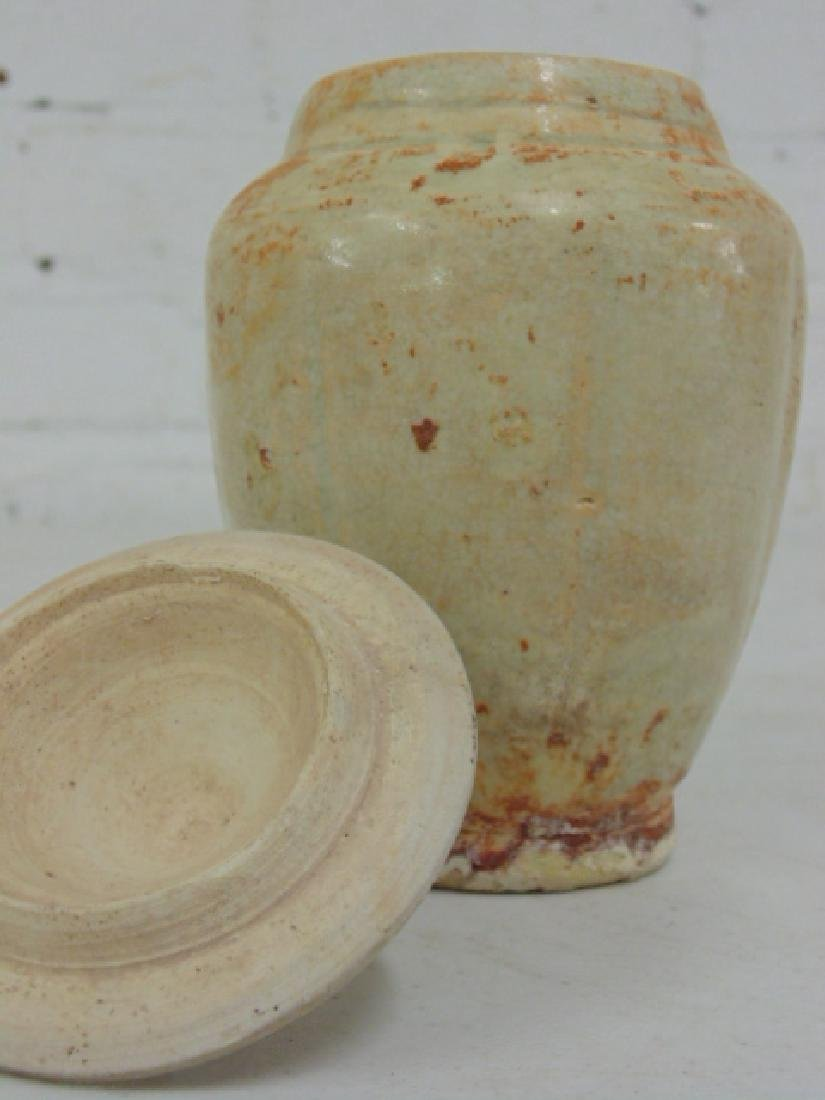 Chinese pottery vase with lid - 6
