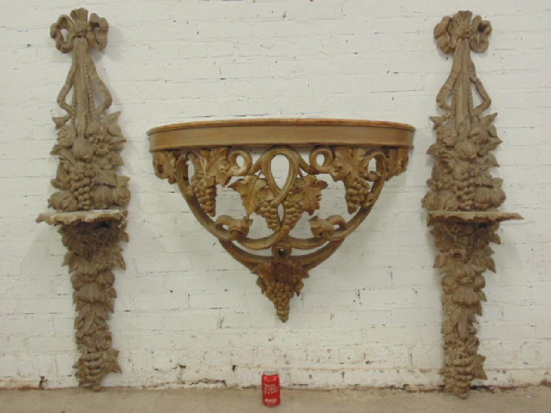 Pair carved wood wall shelves &  console table