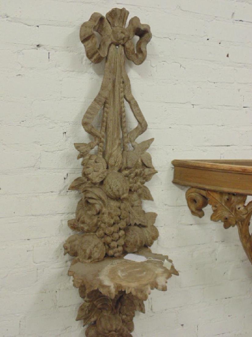 Pair carved wood wall shelves &  console table - 3