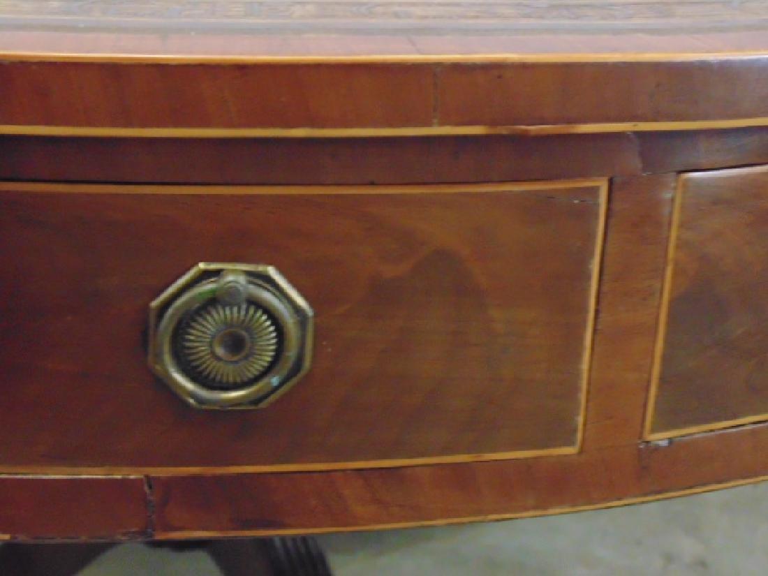 "English mahogany leather top rotating ""rent"" table - 10"