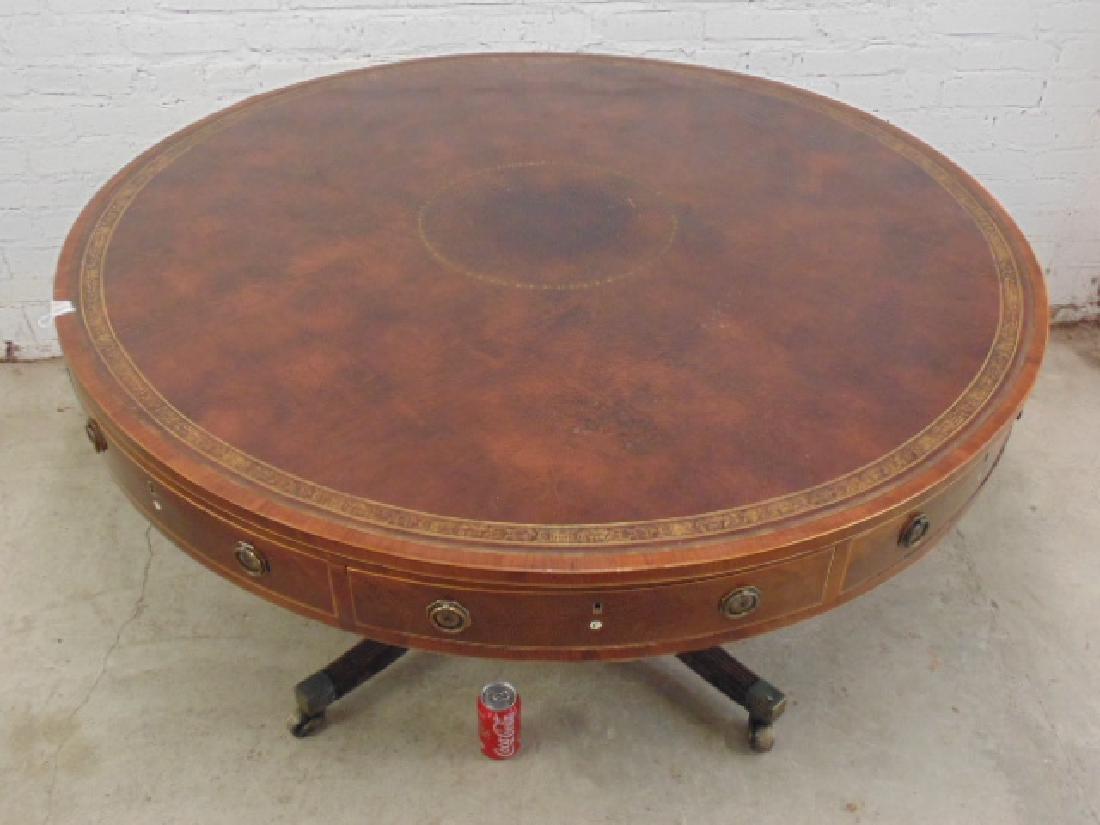 "English mahogany leather top rotating ""rent"" table - 2"
