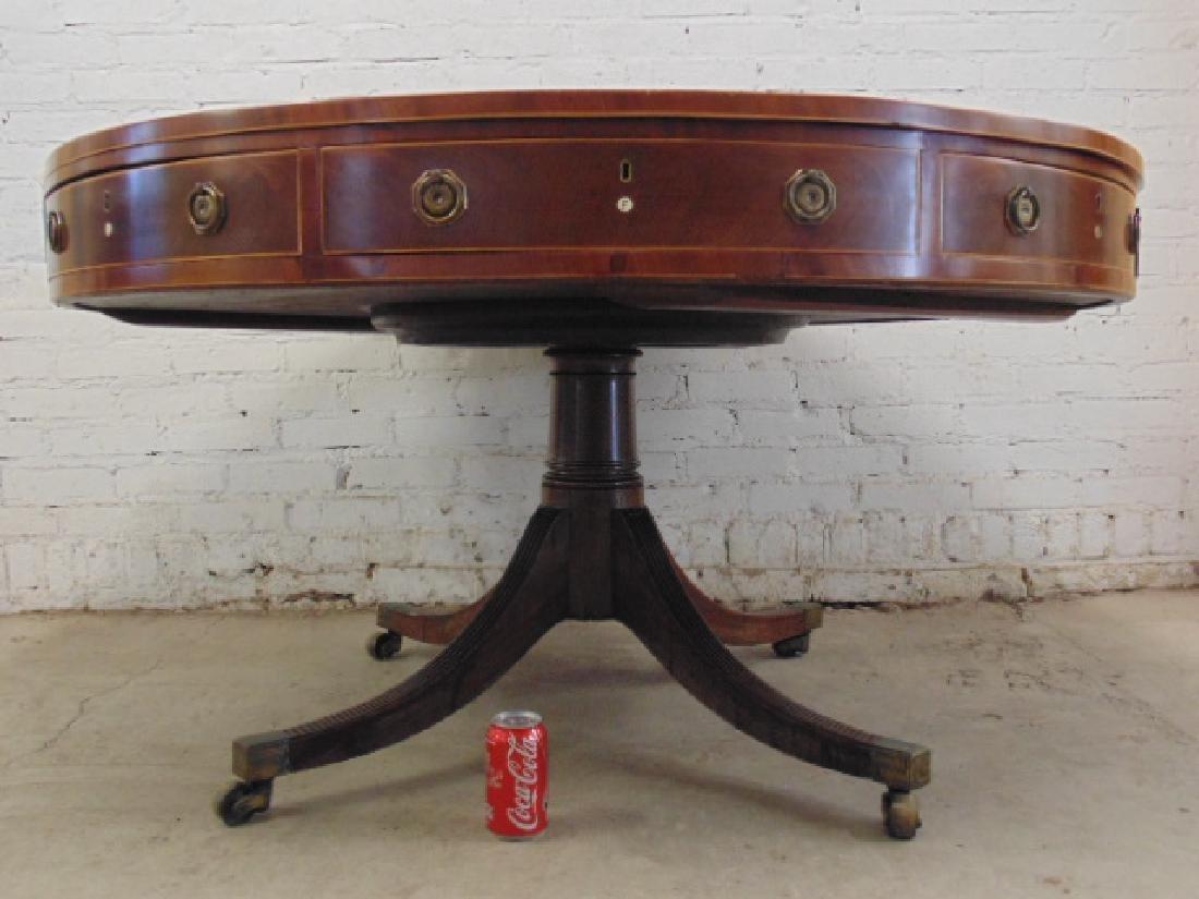 "English mahogany leather top rotating ""rent"" table - 3"