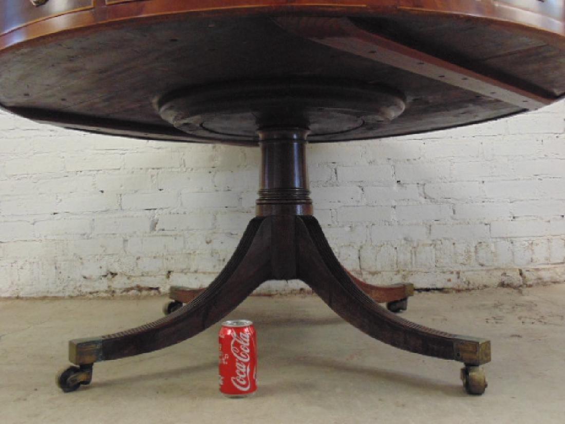 "English mahogany leather top rotating ""rent"" table - 4"