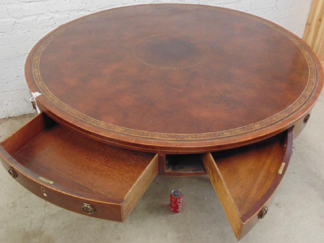 "English mahogany leather top rotating ""rent"" table - 6"