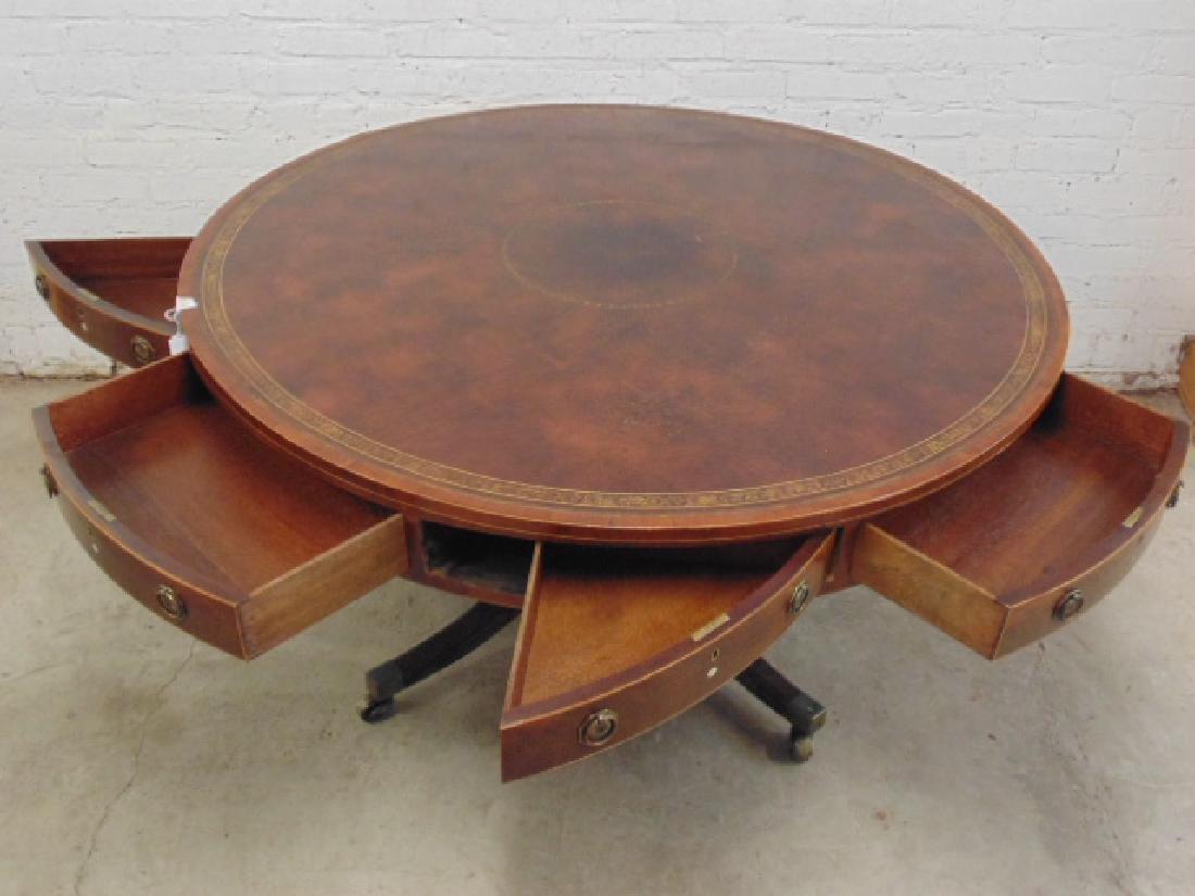 "English mahogany leather top rotating ""rent"" table - 7"