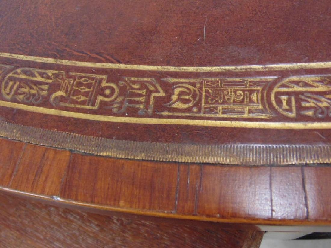 "English mahogany leather top rotating ""rent"" table - 9"