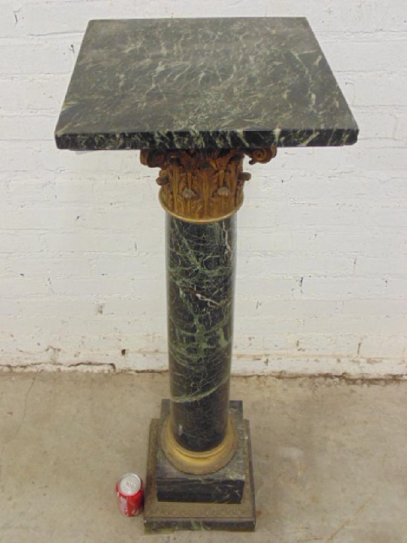 Marble & bronze pedestal - 2