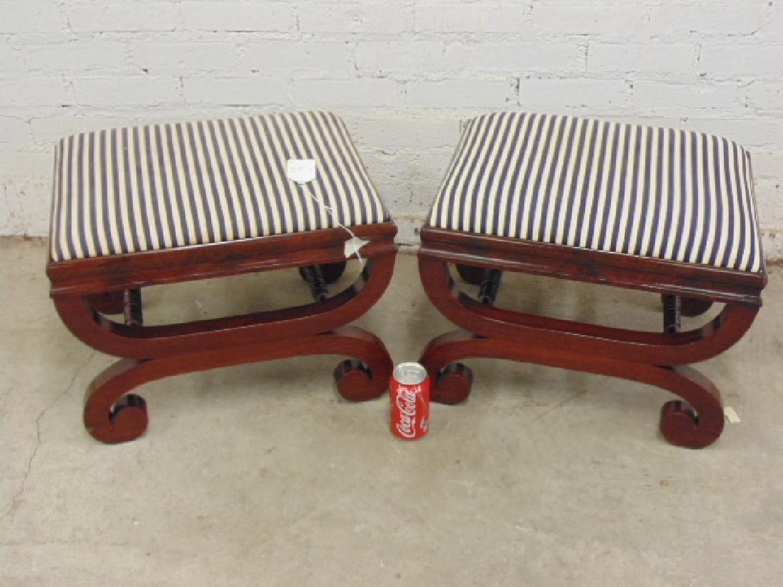 Pair Empire 19th century mahogany foot stools